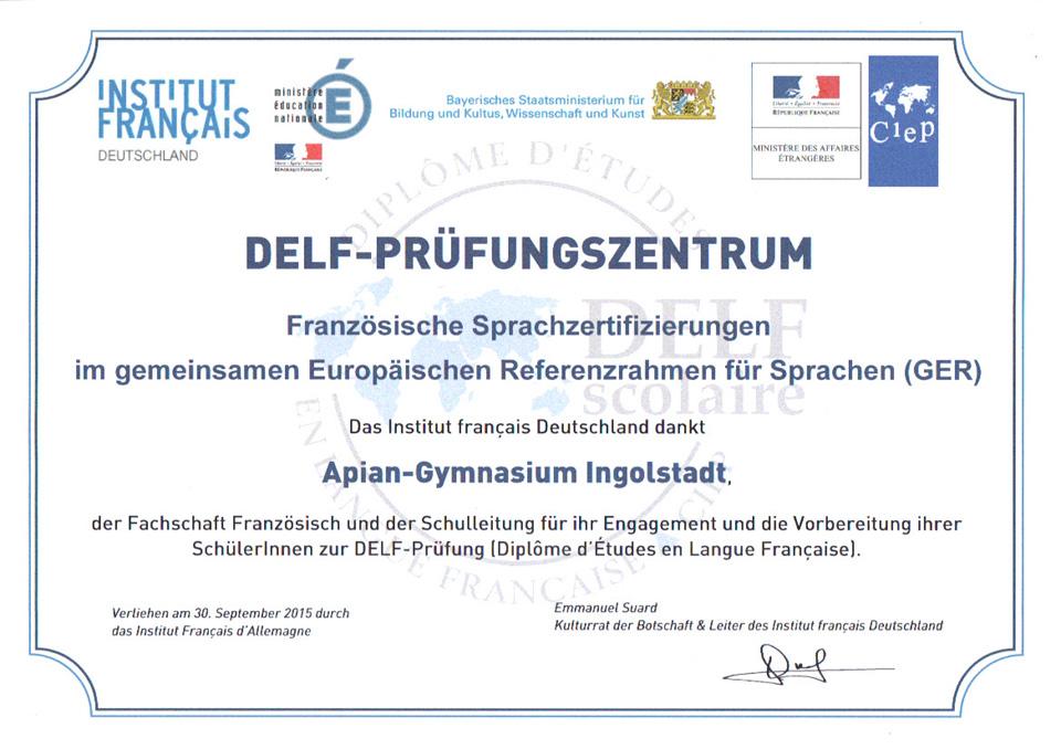 APIAN Gymnasium - Fächer . Französisch . DELF - Ingolstadt